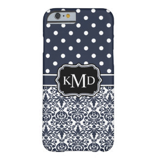 Trio Monogrammed Navy Damask Barely There iPhone 6 Case