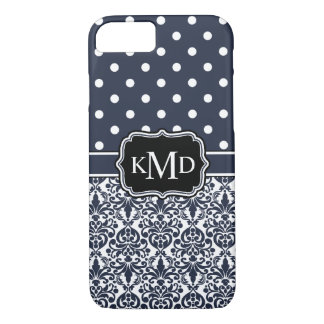 Trio Monogrammed Navy Damask iPhone 7 Case
