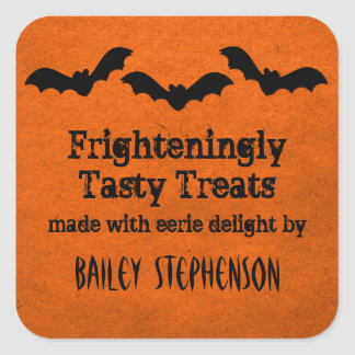 Trio of Bats Halloween Baking Stickers, Orange Square Sticker