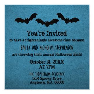 """Trio of Bats Halloween Party Invite, Dark Blue 5.25"""" Square Invitation Card"""