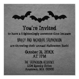 """Trio of Bats Halloween Party Invite, Gray 5.25"""" Square Invitation Card"""