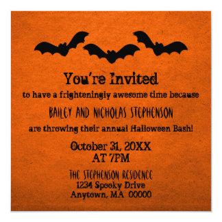 """Trio of Bats Halloween Party Invite, Orange 5.25"""" Square Invitation Card"""