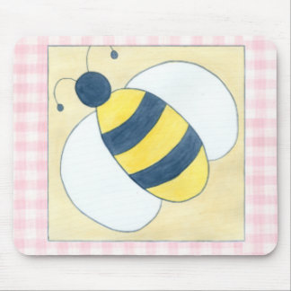 Trio of Bees with Flowers Mouse Pad
