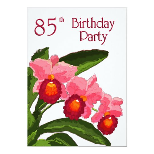 Trio of Cattleyas Birthday Party 85 Card
