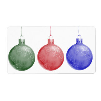 Trio of Christmas Ornaments Shipping Label