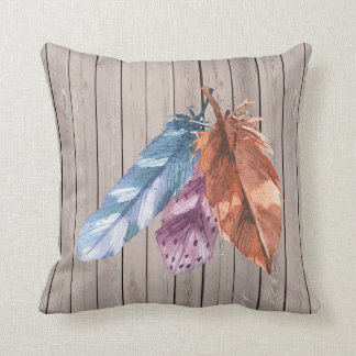 Trio of Feathers Blue Purple Brown Cushion