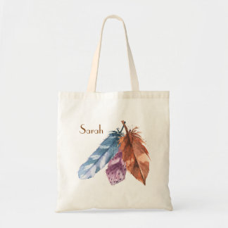 Trio of Feathers Blue Purple Brown Tote Bag