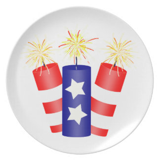 Trio of Firecrackers for the 4th of July Plate