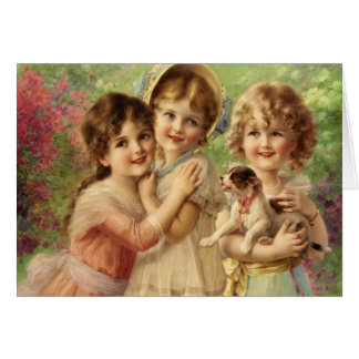 Trio of Girls with Puppy, Card