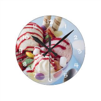 Trio of Ice Cream and Sweet Sundae Wallclocks