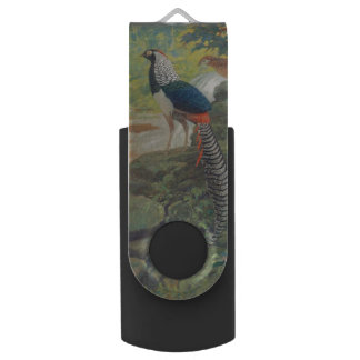 Trio of Lady Amherst's pheasant by waterfall Swivel USB 2.0 Flash Drive