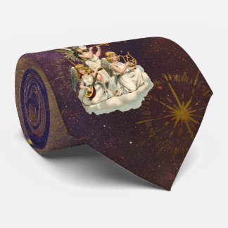 Trio of Musicial Angels Purple Starry Sky Tie