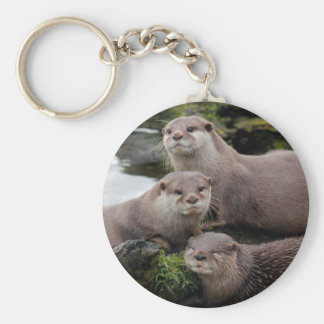 Trio of Otters Key Ring