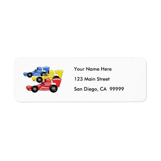 Trio of Racing Cars Return Address Label