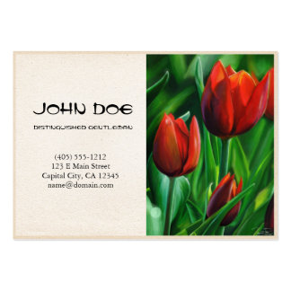 Trio of Red Tulips flower nature digital painting Pack Of Chubby Business Cards