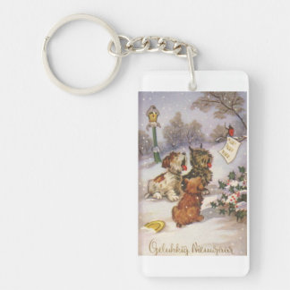 Trio of Singing Dogs Single-Sided Rectangular Acrylic Key Ring