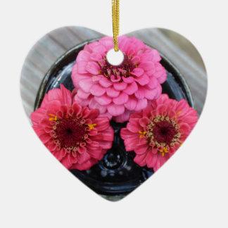 Trio of Zinnias Ceramic Heart Decoration