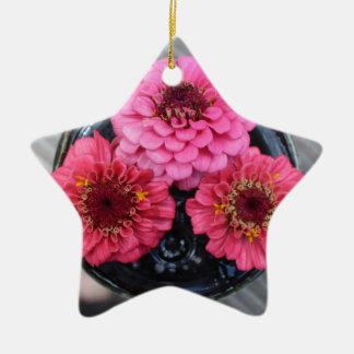 Trio of Zinnias Ceramic Star Decoration