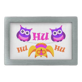 Triolium - owl party rectangular belt buckle