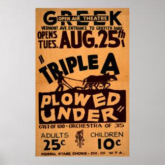 Triple A Plowed Under Greek Open Air Theatre WPA Poster