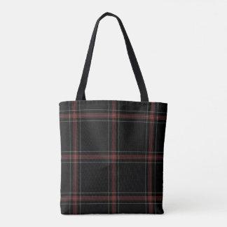 Triple Black Red White Tartan Plaid Tote Bag