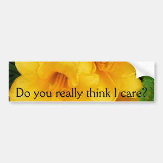 Triple Bloom, Do you really think I care? # 1 Bumper Sticker