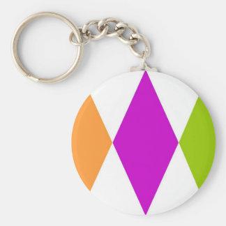 Triple Diamond Basic Round Button Key Ring