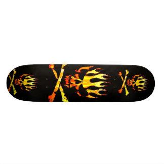 triple flame skull skateboard deck