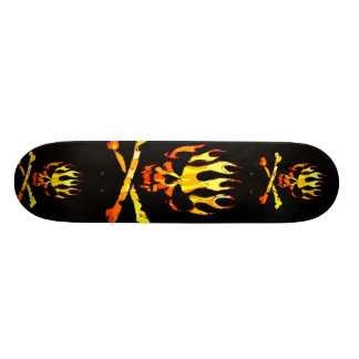 triple flame skull skateboard decks
