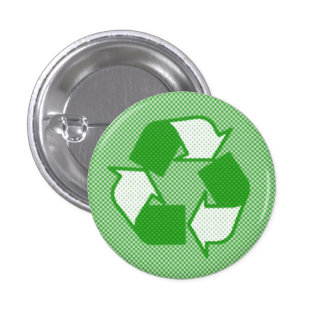 triple green halftone recycle logo 3 cm round badge