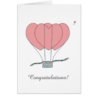 Triple Heart Hot Air Balloon Congratulations Card