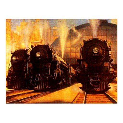 Triple Locomotives At The Station POSTCARD