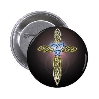 Triple Lunar Celtic Cross Button