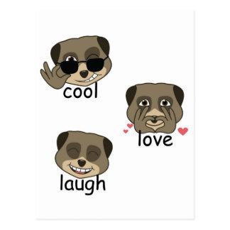 Triple meerkat expression postcard