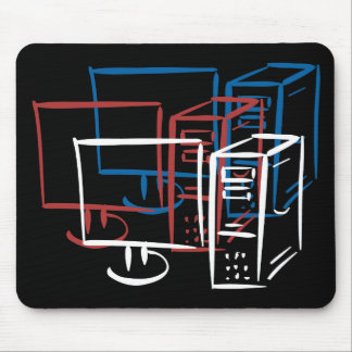 Triple minimalism red white blue computers mouse pad