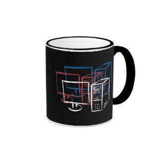 Triple minimalism red white blue computers coffee mug