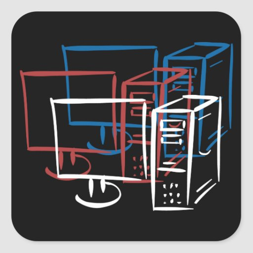 Triple minimalism red white blue computers square stickers