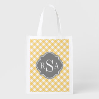 Triple Monogram Grey Yellow Gingham Pattern