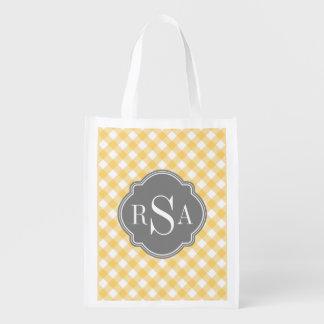 Triple Monogram Grey Yellow Gingham Pattern Reusable Grocery Bag