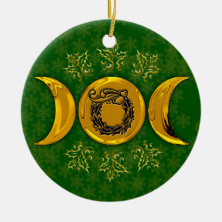 Triple Moon & Holly Wreath #3 Ceramic Ornament