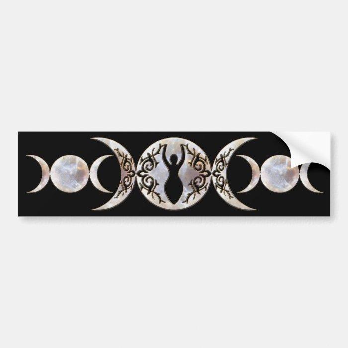 Triple Moon Moonstone Goddess Bumper Sticker