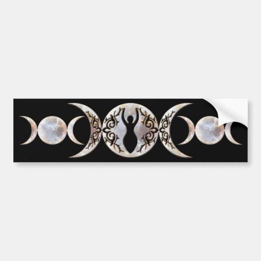 Triple Moon Moonstone Goddess Car Bumper Sticker