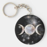 Triple Moon Moonstone Keychains