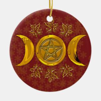 Triple Moon & Pentacle #3 Round Ceramic Decoration