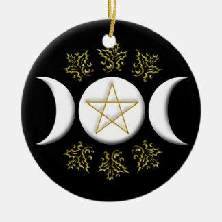 Triple Moon & Pentagram #1 New Ceramic Ornament