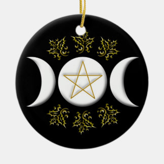 Triple Moon & Pentagram #1 New Round Ceramic Decoration