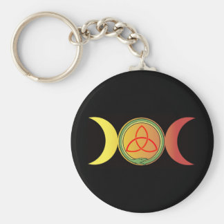triple moon with green ouroboros and red triquetra basic round button key ring