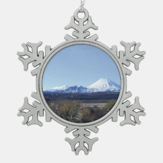triple mountains new zealand pewter snowflake decoration