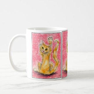 Triple orange cat on pink polka-dot mug