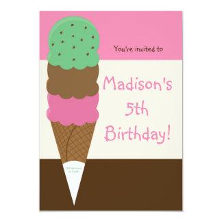 Triple Scoop Ice Cream Birthday Party Invitation